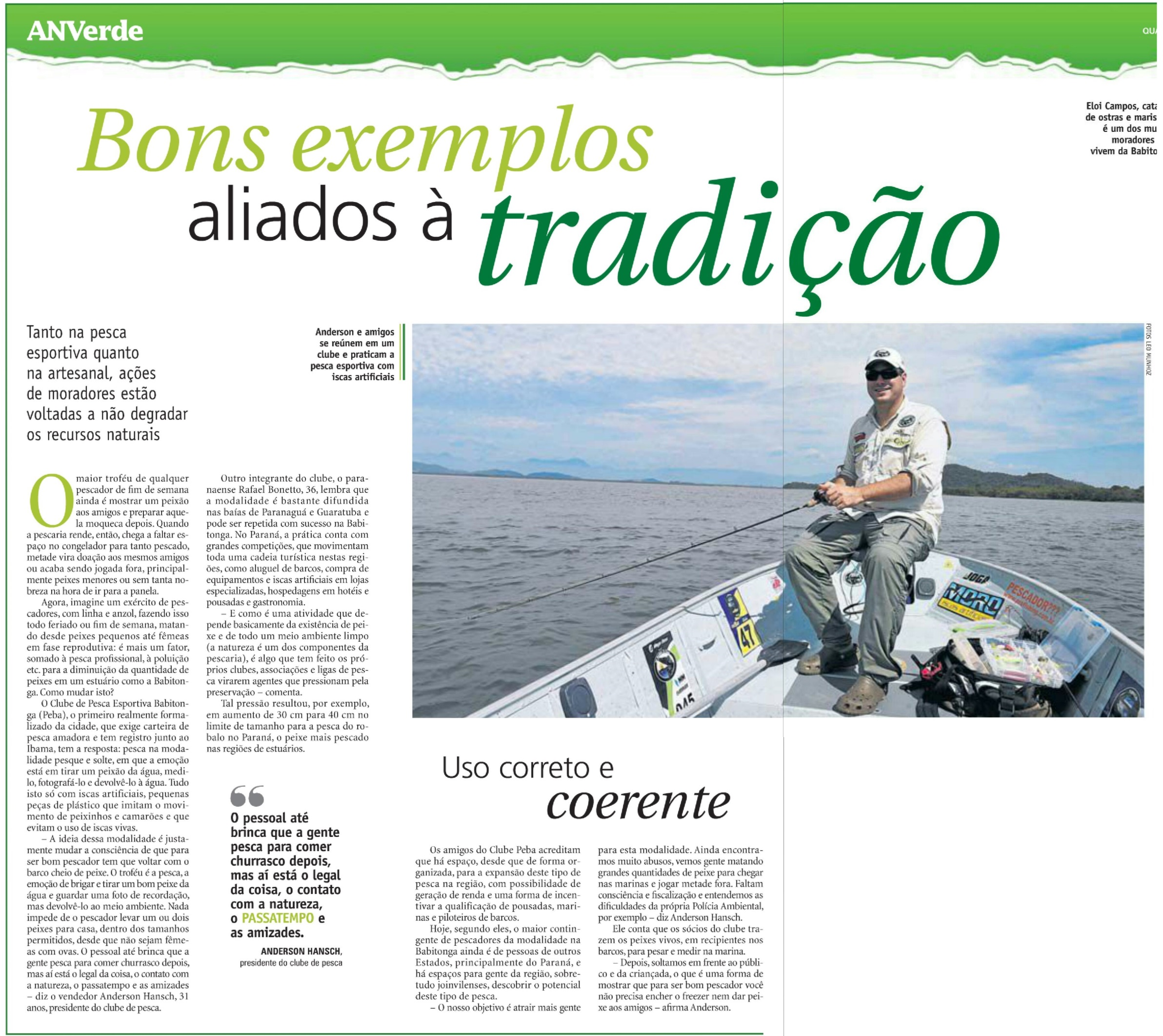 Clube PEBA no Caderno Especial sobre Baía da Babitonga do Jornal A Notícia